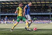 Kevin Mirallas (Everton) shields the ball from the Norwich defender during the Barclays Premier League match between Everton and Norwich City at Goodison Park, Liverpool, England on 15 May 2016. Photo by Mark P Doherty.