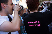 Photographers protest at New Scotland Yard against the Police stopping of their counterparts under anti-terrorism laws.