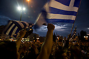 Tens of thousands of people gather around Syntagma square. People are protesting against the Government's handling of the economic crisis, Athens, Greece.  Image © Angelos Giotopoulos/Falcon Photo Agency