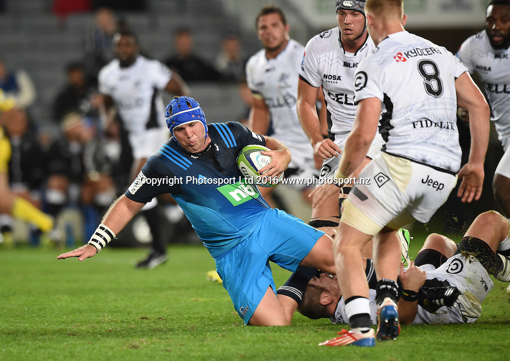 James Parsons. Blues v Sharks Super Rugby match at Eden Park in Auckland, New Zealand. Saturday 16 April 2016. Copyright Photo: Andrew Cornaga / www.Photosport.nz