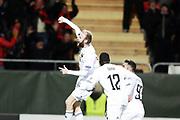 &Ouml;STERSUND, SVERIGE - 2017-10-19: Curtis Edwards i &Ouml;stersunds FK jublar efter att ha gjort 2-1 under UEFA Europa League group J matchen mellan &Ouml;stersunds FK och Athletic Bilbao p&aring; J&auml;mtkraft Arena, den 19 oktober, 2017 i &Ouml;stersund, Sverige. <br /> Foto: Nils Petter Nilsson/Ombrello<br /> ***BETALBILD***