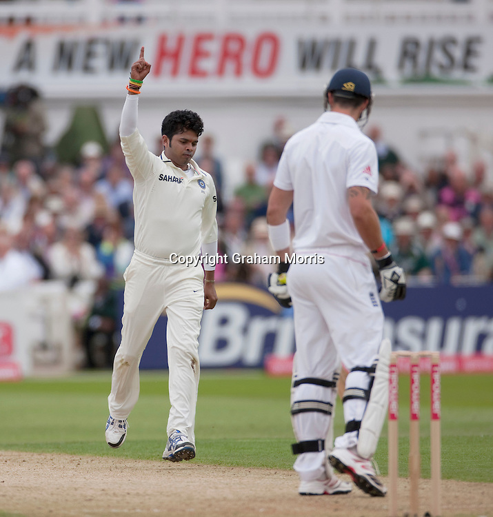 Kevin Pietersen out to Sreesanth during the second npower Test Match between England and India at Trent Bridge, Nottingham.  Photo: Graham Morris (Tel: +44(0)20 8969 4192 Email: sales@cricketpix.com) 29/07/11