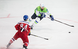 Rok Ticar of Slovenia vs Tomas Kundratek of Czech Republic during the 2017 IIHF Men's World Championship group B Ice hockey match between National Teams of Czech Republic and Slovenia, on May 12, 2017 in AccorHotels Arena in Paris, France. Photo by Vid Ponikvar / Sportida