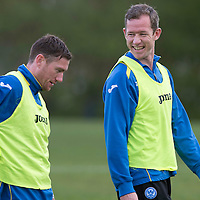 St Johnstone defender Frazer Wright pictured during training with paddy Cregg ahead of his disciplinary hearing at Hampden Park....16.05.13<br /> Picture by Graeme Hart.<br /> Copyright Perthshire Picture Agency<br /> Tel: 01738 623350  Mobile: 07990 594431