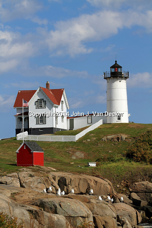Cape Neddick Lighthouse also called Nubble Light, York, Maine, USA