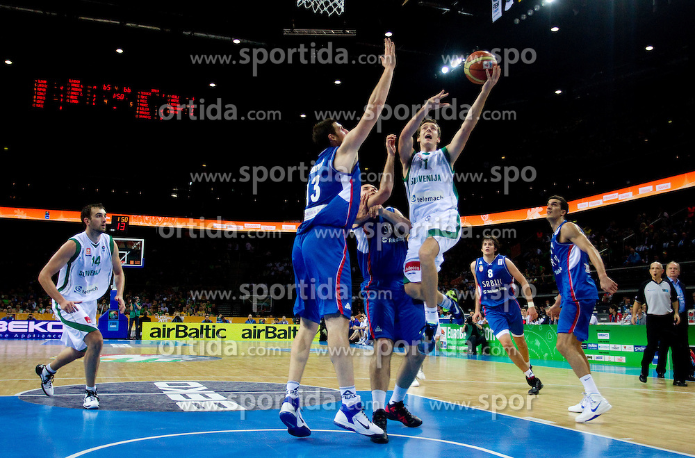 Kosta Perovic of Serbia and Milan Macvan of Serbia vs Goran Dragic of Slovenia during basketball game between National basketball teams of Slovenia and Serbia in 7th place game of FIBA Europe Eurobasket Lithuania 2011, on September 17, 2011, in Arena Zalgirio, Kaunas, Lithuania. Slovenia defeated Serbia 72 - 68 and placed 7th. (Photo by Vid Ponikvar / Sportida)