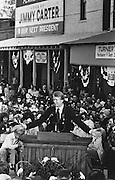 Jimmy Carter addresses the crowd that has gathered on the main street of Plains, Georgia the morning after his winning the 1976 presidential election. - To license this image, click on the shopping cart below -