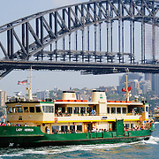 Sydney ferry with the Sydney Harbour Bridge in the background