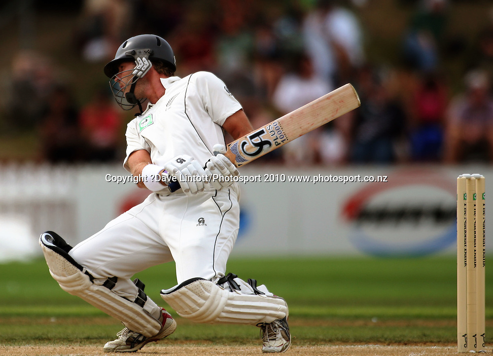 NZ's Tim McIntosh dodges a bouncer.<br /> 1st cricket test match - New Zealand Black Caps v Australia, day three at the Basin Reserve, Wellington.Sunday, 21 March 2010. Photo: Dave Lintott/PHOTOSPORT