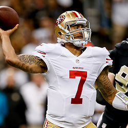 Nov 17, 2013; New Orleans, LA, USA; San Francisco 49ers quarterback Colin Kaepernick (7) throws against the New Orleans Saints during the first quarter of a game at Mercedes-Benz Superdome. Mandatory Credit: Derick E. Hingle-USA TODAY Sports