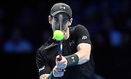 Britain's Andy Murray returns the ball against Japan's Kei Nishikori during their men's singles match at the ATP World Tour finals tennis tournament at the O2 Arena in London, Britain, 16 November 2016. EPA/WILL OLIVER