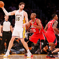 03 November 2013: Los Angeles Lakers power forward Pau Gasol (16) posts up Atlanta Hawks center Al Horford (15) during the Los Angeles Lakers 105-103 victory over the Atlanta Hawks at the Staples Center, Los Angeles, California, USA.