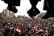 Egyptian protesters gathered in Cairo's downtown Tahrir Square, the site of major anti-government demonstrations this week calling for the immediate resignation of President Hosni Mubarak, who has ruled the country unopposed since 1981.