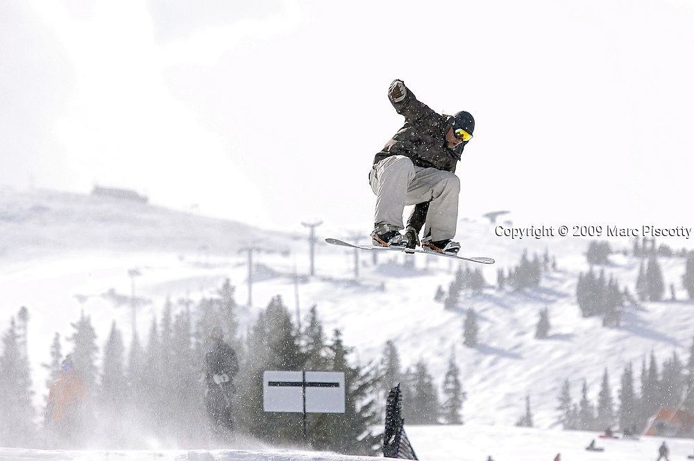 SHOT 2/6/09 11:57:01 AM - Marc Piscotty of Denver, Co. snowboarding at the Catalyst Terrain Park at Copper Mountain, Co. <br /> (Photo by Chris Schneider / &copy; 2009)