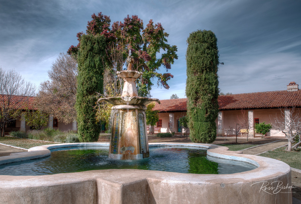 Courtyard fountain, Mission San Antonio de Padua (3rd California Mission - 1771), California
