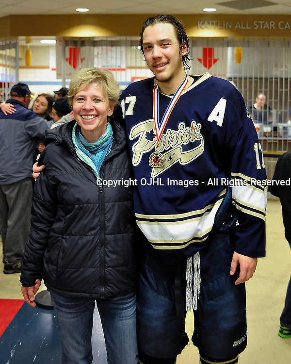 WELLINGTON, ON - May 3 : Dudley Hewitt Cup, Central Canadian Jr &quot;A&quot; Championship Game. Wellington Dukes vs. Toronto Lakeshore Patriots. Doug Bonar #17 of the Toronto Lakeshore Patriots with family.<br /> (Photo by Shawn Muir / OJHL Images)