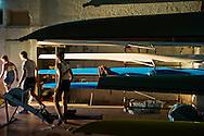 Bagnoli, Italia - 3 novembre 2011. Giovani canottieri iscritto al circolo ILVA di Bagnoli si preparano all'allenamento nello specchio d'acqua che sarà teatro, nei prossimi mesi, di due tappe della celebre competizione velica dell'America's Cup..Ph. Roberto Salomone Ag. Controluce.ITALY - Young rowers prepare for training in the waters that will host two rounds of America's Cup sailing competition in Bagnoli.