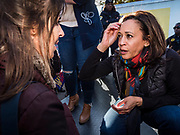 12 OCTOBER 2019 - DES MOINES, IOWA: Senator KAMALA HARRIS (D-CA), right, talks to individual voters after a block party in Des Moines Saturday. Sen. Harris attended a neighborhood block party in Des Moines as a part of her campaign to be the Democratic nominee for the US presidency in 2020. Iowa traditionally holds the first selection of the presidential election cycle. The Iowa caucuses are Feb. 3, 2020.        PHOTO BY JACK KURTZ
