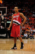 Apr 18, 2010; Phoenix, AZ, USA; Portland Trailblazers guard Jerryd Bayless (4) during the first half in game one in the first round of the 2010 NBA playoffs at the US Airways Arena.  The Trail Blazers defeated the Suns 105-100.  Mandatory Credit: Jennifer Stewart-US PRESSWIRE