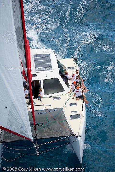 Blast, a Gunboat 48, sailing Race 2 at Antigua Sailing Week.