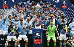 May 18, 2019 - London, England, United Kingdom - Manchester City's Vincent Kompany with Trophy.during FA Cup Final match between Manchester City and Watford at Wembley stadium, London on 18 May 2019., games or single club/league/player publications/services. (Credit Image: © Action Foto Sport/NurPhoto via ZUMA Press)