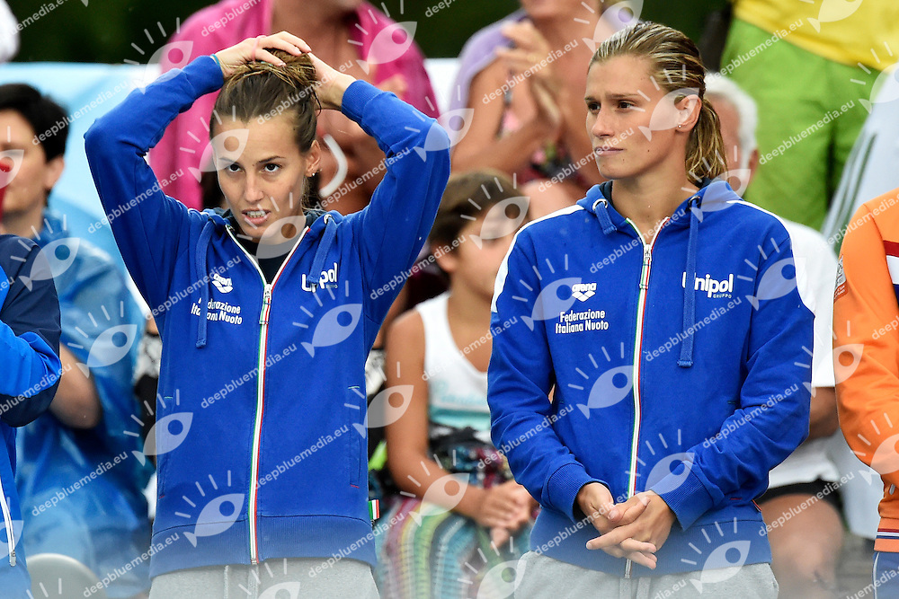 Tania Cagnotto, Francesca Dallape' ITA <br /> Synchronized Springboard 3m Women Final - Trampolino 3m Sincro Finale <br /> Bolzano 01-08-2014 <br /> 20 Fina Diving Grand Prix <br /> Photo Andrea Staccioli/Insidefoto/Deepbluemedia