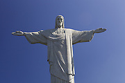 A close up looking up at Christ the redeemer, Rio de Janeiro, Brazil.