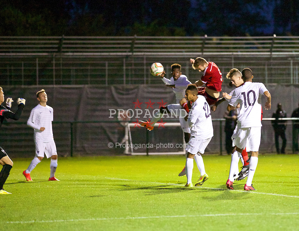 NEWPORT, WALES - Thursday, September 25, 2014: Wales' Daniel Jefferies scores the second goal against France during the Under-16's International Friendly match at Dragon Park. (Pic by David Rawcliffe/Propaganda)