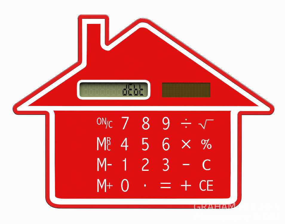 "Red calculator shaped like a house with words""dEbt"" on LCD screen."