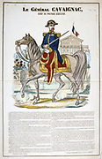 General Louis-Eugene Cavaignac (1802-1857), 26th Prime Minister of France May-December 1848.   Cavaignac suppressed the Revolution of 1848. French popular hand-coloured print of Cavaignac mounted on his charger.