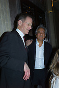 SIR NICHOLAS SEROTA; ANISH KAPOOR; , Anish Kapoor and Lee Ufan preview dinner hosted by the Lisson Gallery after the opening on Bell St. The Connaught. London. 23 March 2015