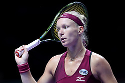 October 27, 2018 - Singapore - Kiki Bertens of the Netherlands reacts to loosing a point during the semi final match between Elina Svitolina and Kiki Bertens on day 7 of the WTA Finals at the Singapore Indoor Stadium. (Credit Image: © Paul Miller/ZUMA Wire)