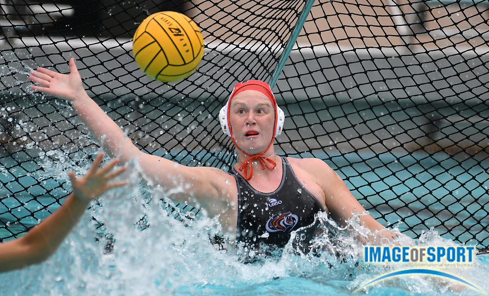 Pacific Tigers goalie Alexis Hollinrake (1) defends the goal during an NCAA college women's water polo quarterfinal game against the UCLA Bruins in Los Angeles, Friday, May 11, 2018. UCLA defeated Pacific, 8-4.