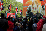Sir Elton John performs at the Queen's Diamond Jubilee concert weeks before the Olympics come to London. The UK enjoys a weekend and summer of patriotic fervour as their monarch celebrates 60 years on the throne. Across Britain, flags and Union Jack bunting adorn towns and villages.