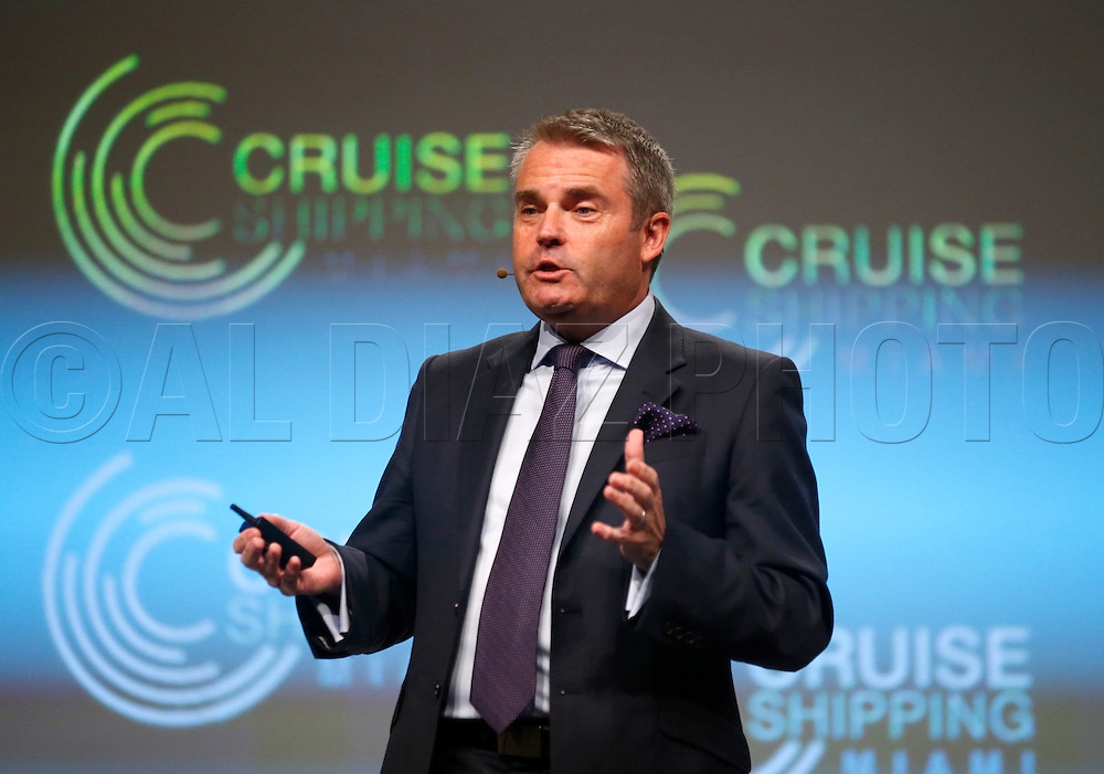 """during the Cruise Shipping Miami conference  annual """"State of the Industry"""" address from cruise line executives on Tuesday, March 17, 2015."""