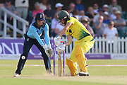 Ellyse Perry of Australia (8) batting during the Royal London Women's One Day International match between England Women Cricket and Australia at the Fischer County Ground, Grace Road, Leicester, United Kingdom on 4 July 2019.