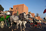 Morocco, Marrakech , fortified walls of the old city, street life