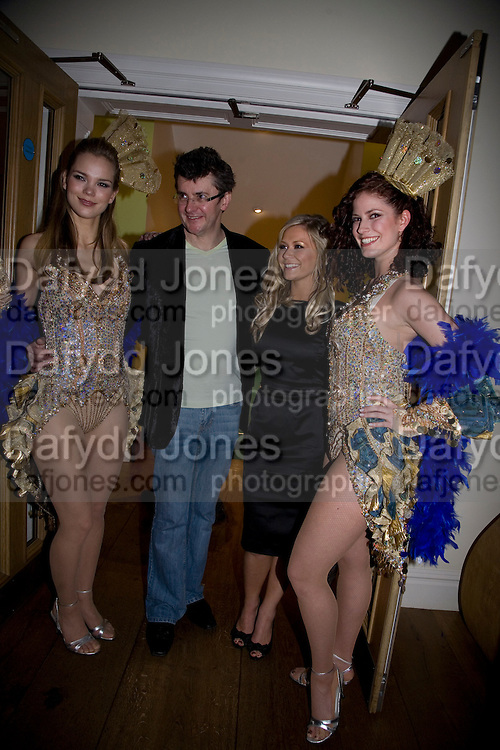 SUZANNE SHAW AND JOE PASQUALE WITH DANCING GIRLS, Bingo Lotto launch party. Soho Hotel Richmond Mews. London. 29 February 2008.  *** Local Caption *** -DO NOT ARCHIVE-© Copyright Photograph by Dafydd Jones. 248 Clapham Rd. London SW9 0PZ. Tel 0207 820 0771. www.dafjones.com.