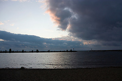 Thunderstorm moving in at the harbor in New Buffalo Michigan