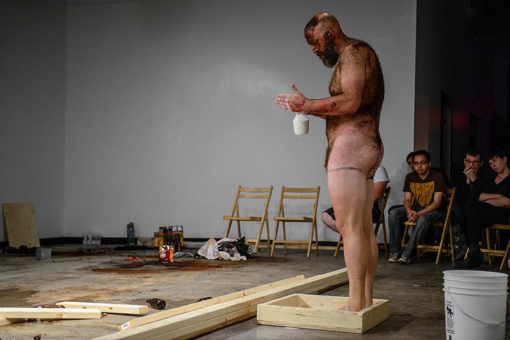 Canada, Edmonton. Sept/12/2013. Latitude 53 Visualeyez 2013: Vulnerability. Performance piece by Jeff Huckleberry.