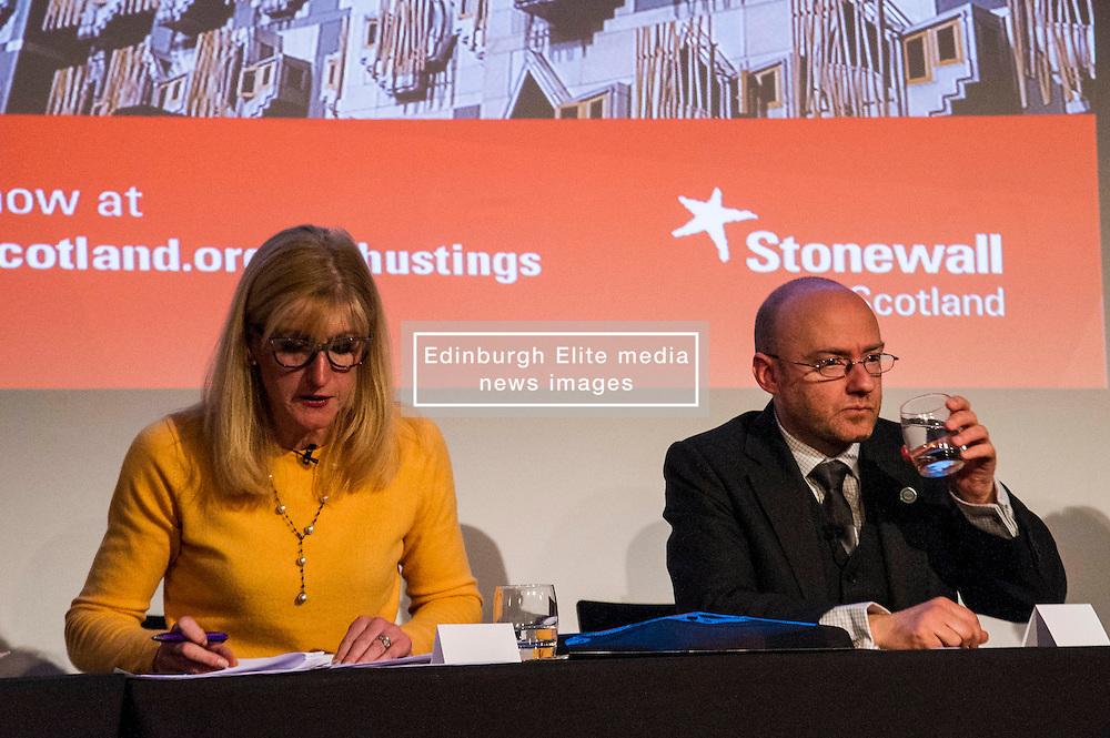 Pictured: Louise White and Patrick Harvey<br /> <br /> Party leaders Nicola Sturgeon, Kezia Dugdale, Ruth Davidson, Willie Rennie and Patrick Harvie faced questions from the public at an LGBTI election hustings event arranged by Stonewall Scotland, LGBT youth Scotland, Equaity Network and The Scottish Equality Network at the Royal College of Surgeons of Edinburgh. Edinburgh. 31 March 2016<br /> <br /> Ger Harley | Edinburghelitemedia.co.uk