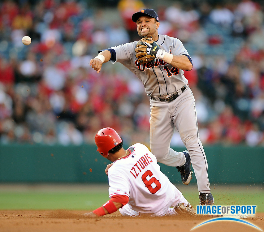 May 26, 2008; Anaheim, CA, USA;  Detroit Tigers second baseman Placido Polanco (14) forces out Los Angeles Angels shortstop Maicer Izturis (6) at second base in the first inning at Angel Stadium. Mandatory Credit: Kirby Lee/Image of Sport-US PRESSWIRE