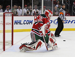 Mar 17, 2010; Newark, NJ, USA; New Jersey Devils goalie Martin Brodeur (30) makes a save during the first period at the Prudential Center.