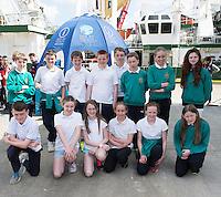 As part of the SEA FOR SOCIETY ocean awareness initiative pupils   from Gael Scoil Uileog de Burca , Claremorris visited the Marine Institute's RV Celtic Explorer . Photo:Andrew Downes:XPOSURE