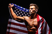 Photo Shoot for Zoom Athletics with model and American Flag