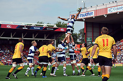 Marco Mama of Bristol Rugby wins the ball at a lineout - Photo mandatory by-line: Patrick Khachfe/JMP - Mobile: 07966 386802 21/09/2014 - SPORT - RUGBY UNION - Bristol - Ashton Gate - Bristol Rugby v Cornish Pirates - GK IPA Championship.