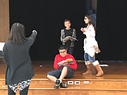 Lion King Director Chelsea McCurday works with Lyons ES students who are playing Zazu, Simba, and Mufasa.