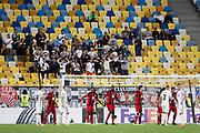 LVIV - UKRAINA, 2017-09-14: Zorya-fans under en h&ouml;rna under UEFA Europa League group J matchen mellan Zorya Lugansk och &Ouml;stersunds FK p&aring; Arena Lviv den 14 september, 2017 in Lviv, Ukraina. Foto: Nils Petter Nilsson/Ombrello<br /> ***BETALBILD***