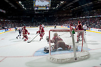 REGINA, SK - MAY 20: Evan Fitzpatrick #31 of Acadie-Bathurst Titan makes a glove save against the Acadie-Bathurst Titan at the Brandt Centre on May 20, 2018 in Regina, Canada. (Photo by Marissa Baecker/CHL Images)