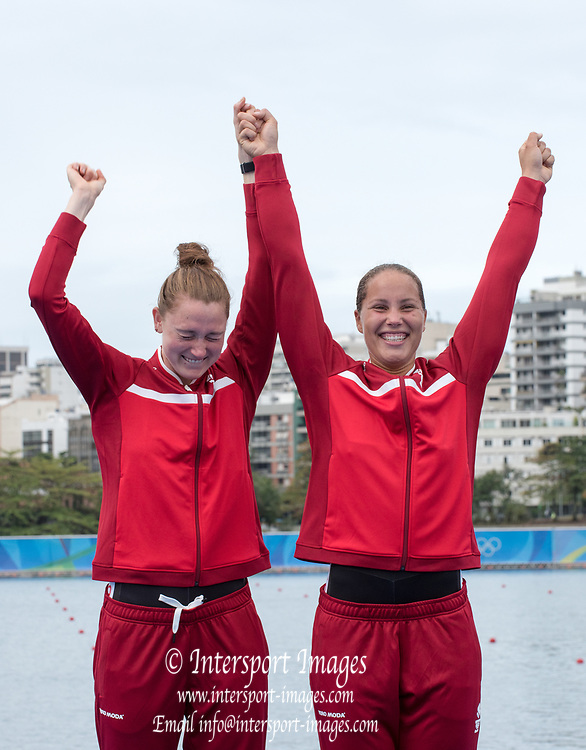 Rio de Janeiro. BRAZIL  Bronze Medalist. DEN W2- Hedvig RASMUSSEN and Anne ANDERSEN,  <br /> 2016 Olympic Rowing Regatta. Lagoa Stadium,<br /> Copacabana,  &ldquo;Olympic Summer Games&rdquo;<br /> Rodrigo de Freitas Lagoon, Lagoa. Local Time 16:39:38  Friday  12/08/2016<br /> [Mandatory Credit; Peter SPURRIER/Intersport Images]